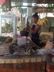 Road side Som Tam preparation