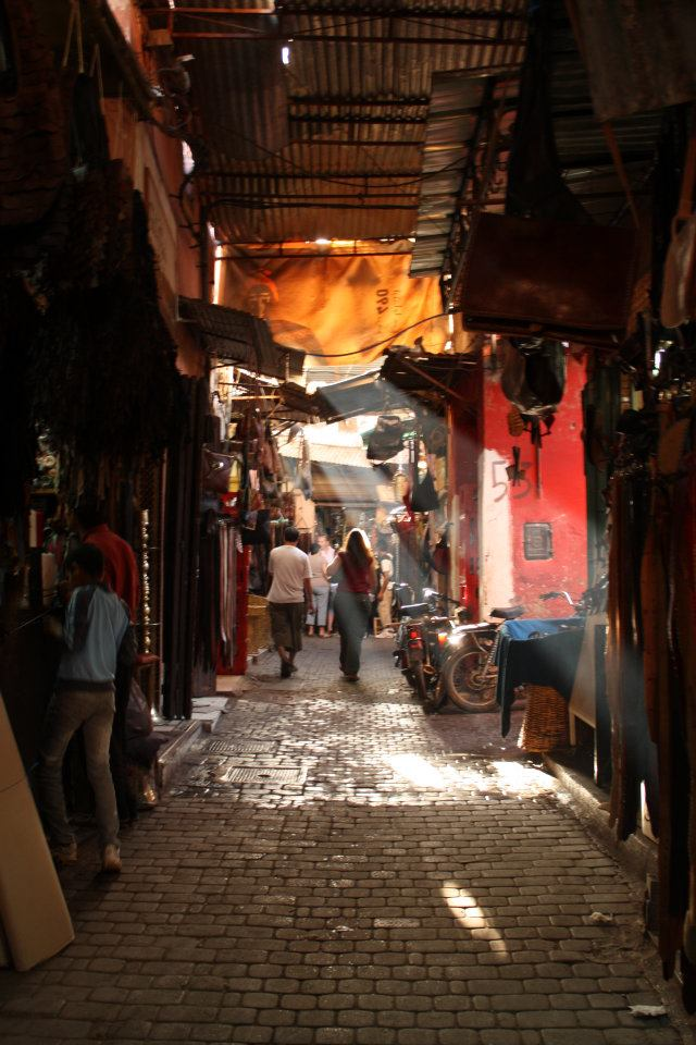 Walking through one of the souk walkways that lead to the square.