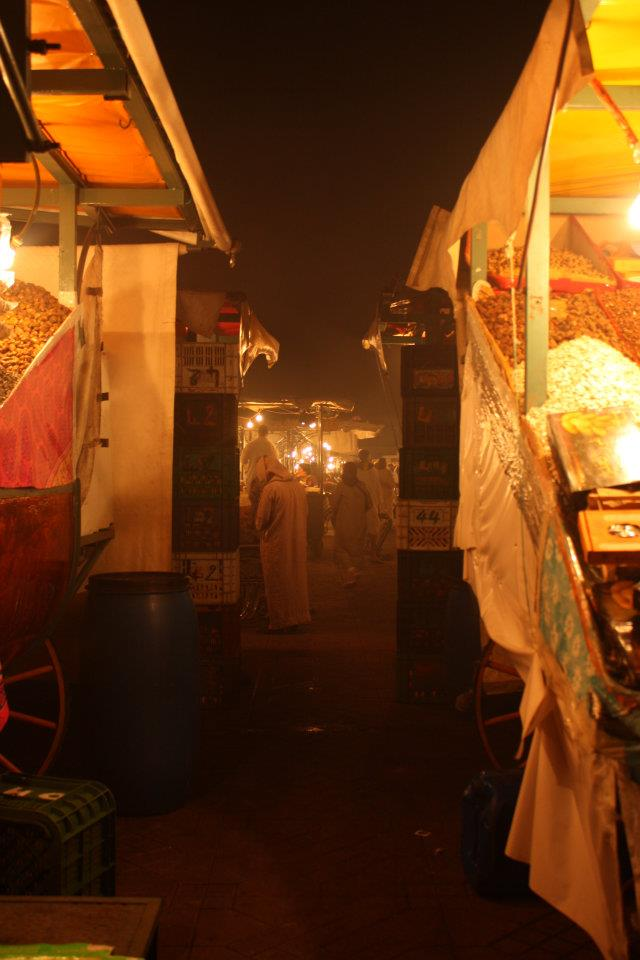 The view between two food stalls.