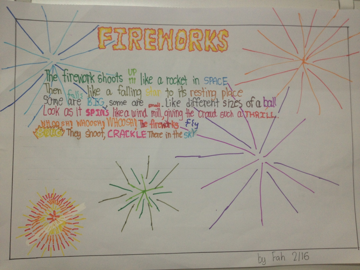 In my classroom: Onomatopoeia part 2 - Fireworks