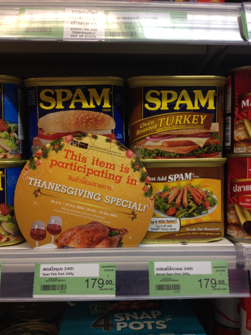 That's Thanksgiving sorted then... Spam, anyone?